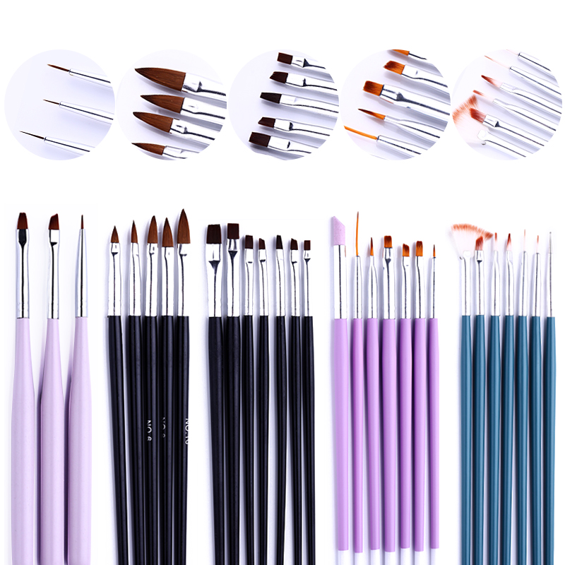 Painting Nail Brush Set Gradient Nail Art Line Brush Crystal Acrylic Thin Liner Drawing Pen  Tools For Extension UV Gel