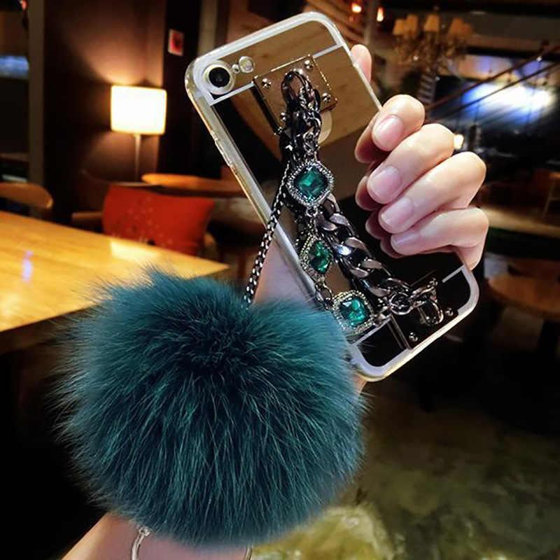 Note10pro Cheveux Boule Diamant Chaîne Miroir Souple étui en polyuréthane thermoplastique Pour Samsung S10 S8 S9Plus S7 Note8 note9 J4 J6 J8 2018 Maquillage coque de téléphone