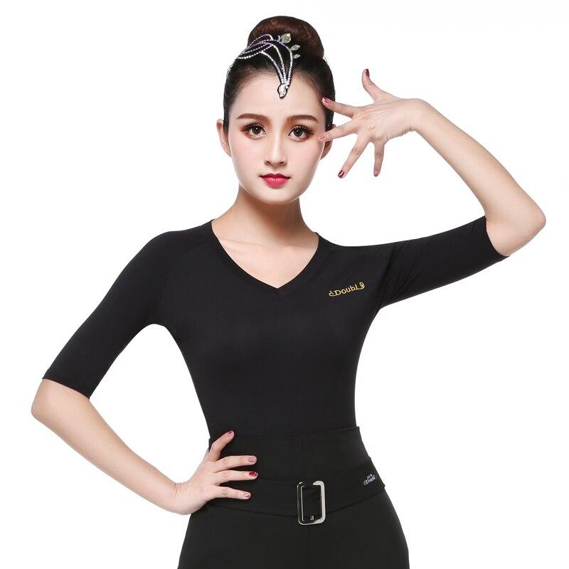 Doubl Comfortable Women's Latin Dance Tops For Women Shirt Half Sleeve Ballroom Dance Practice V-neck Lady Black Elastic Slim