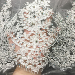 Image 5 - Off White Beaded Lace Fabrics African Lace Fabric 2020 High Quality Lace With Stones, French Nigerian Lace Fabrics for Wedding