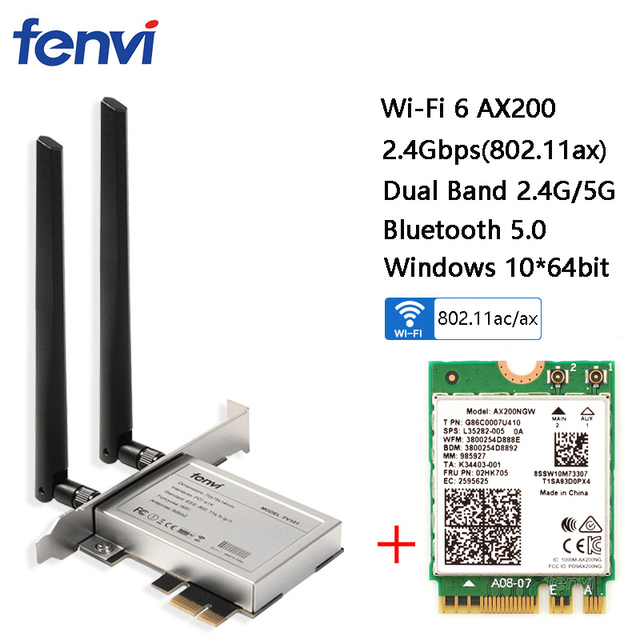 Desktop Wireless Dual Band 2400Mbps Bluetooth 5.0 NGFF M.2 Wifi 6 AX200 Adapter For AX200NGW Wi-Fi Card 802.11ac/ax Windows 10