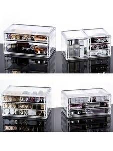 Plastic Box Storage-Box Makeup-Organizer Display-Stand Jewelry Drawer Cosmetics Transparent