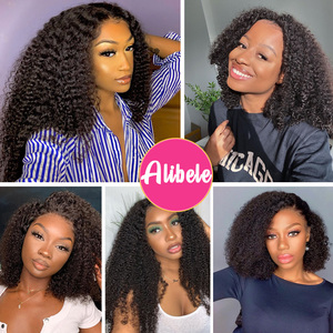 Image 5 - Alibele Mogolian Afro Kinky Curly Lace Front Human Hair Wigs 150 Density 13x4 Curly Human Hair Lace Frontal Wig 10 24 inch Long