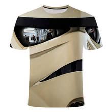 Mens Wear Star Wars Gray Black Robot 3d printed t-shirts Short Sleeve Printing Male tshirt Youth Trend Cool and creative shirt