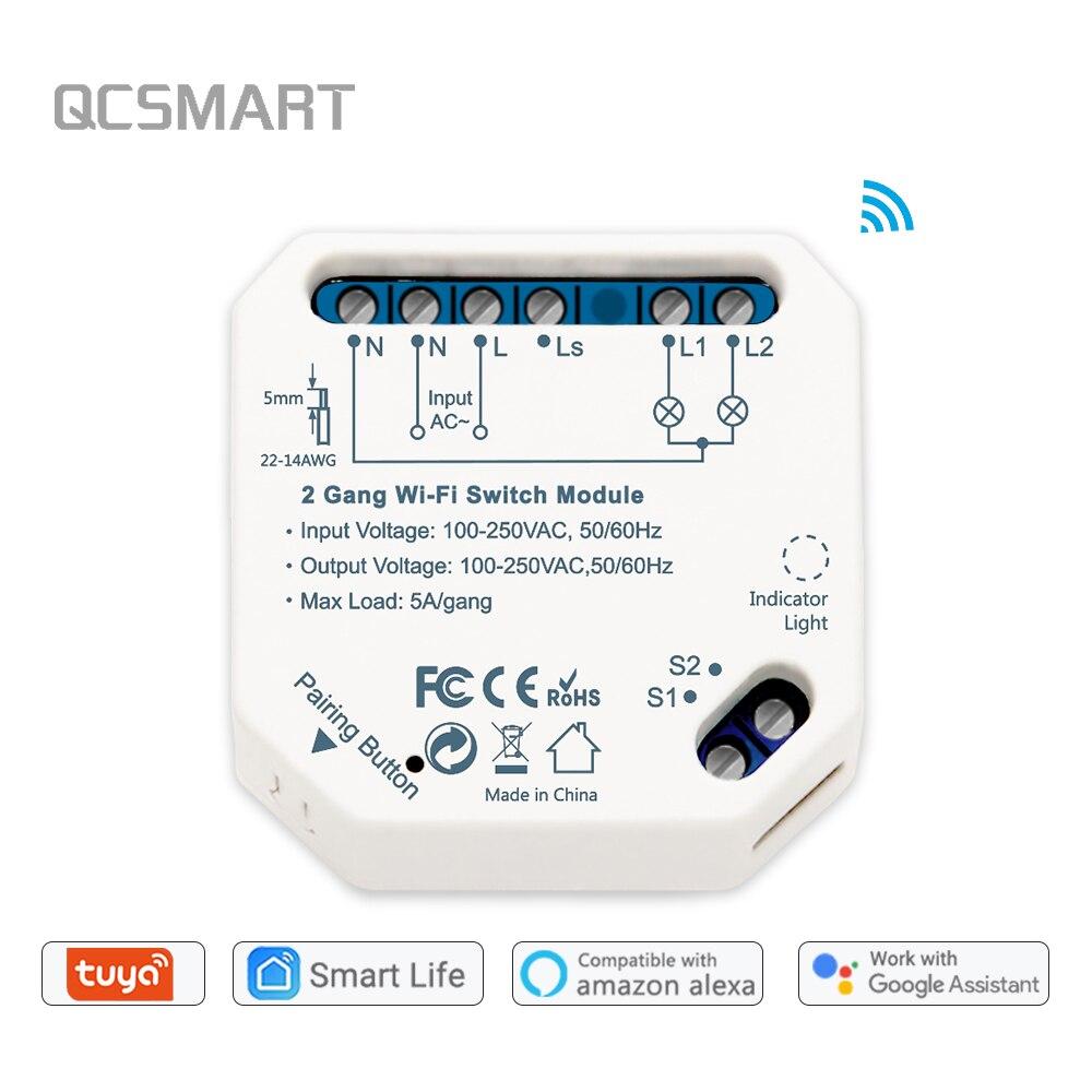 Умный светильник, 2-сторонний Wifi выключатель Diy, модуль выключателя Smart Life/Tuya, дистанционное управление через приложение, работает с Alexa Echo ...