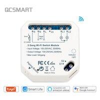 Módulo de control inteligente de iluminación con wifi para el hogar, Controlador de iluminación de 2 entradas compatible con Smart Life, Tuya, Ewelink, Alexa y Google Home