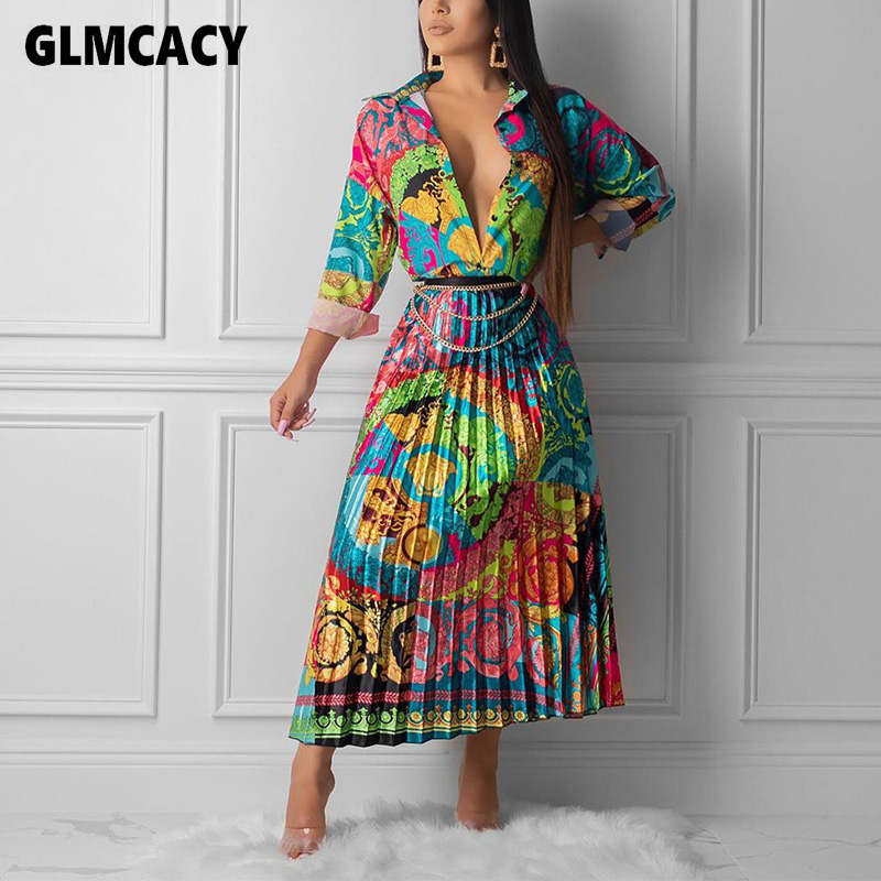 Women Vintage Printed Button Down Shirt And Pleated Skirt Two Pieces Classy Streetwear Elegant Church Party Outfits