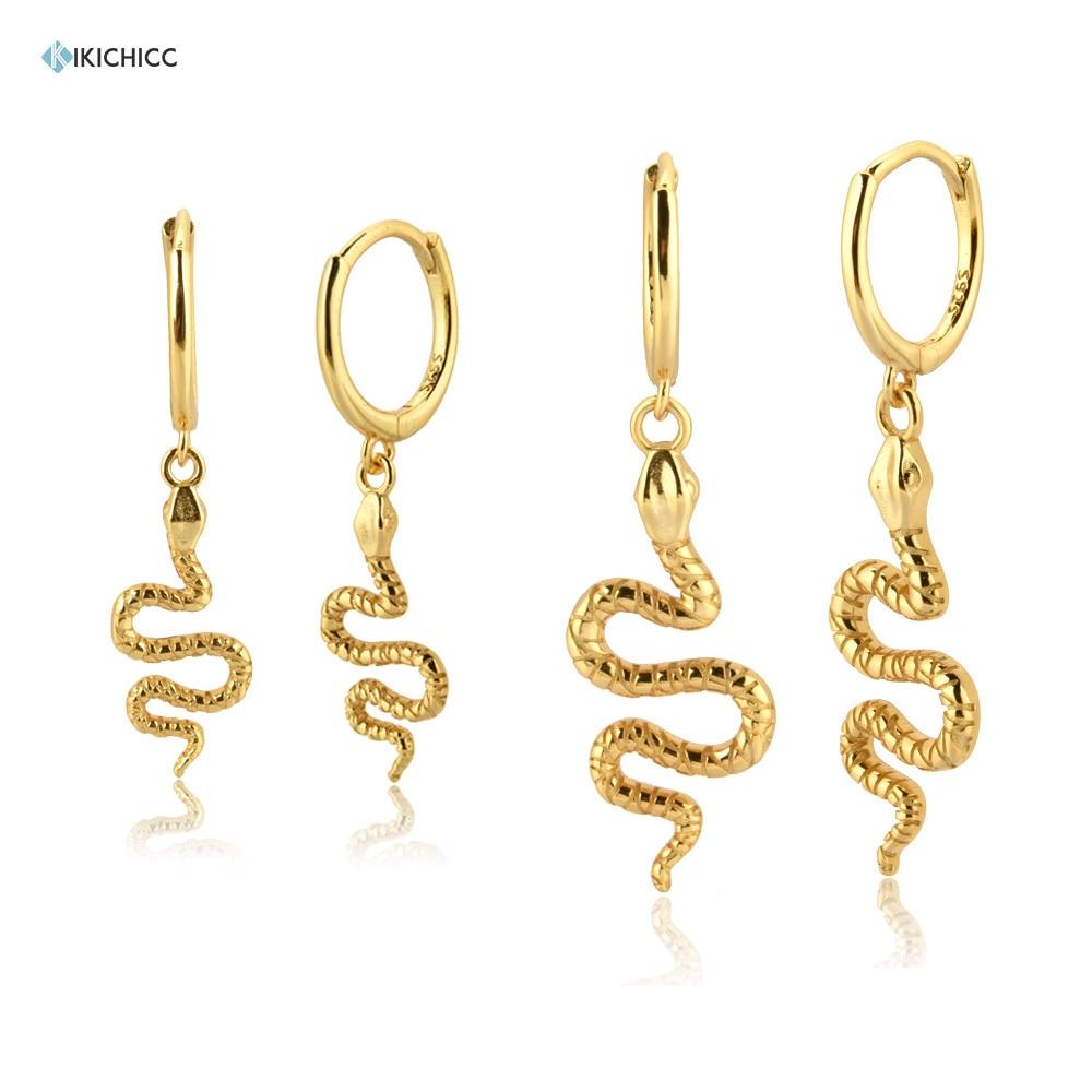 Kikichicc 100% 925 Sterling Silver Snake Drop Earring Pendant Piercing Ohrringe Circle Jewelry New 2020 Fine Jewelry Rock Punk