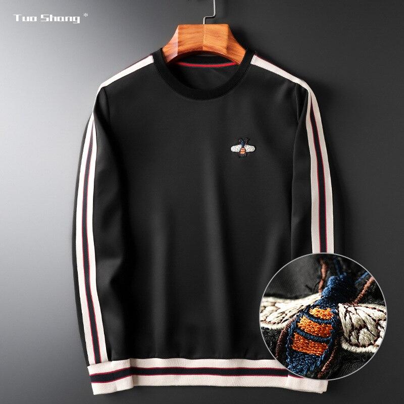 2019 Autumn Brand Bee Embroidery Mens Hoodies Sweatshirts Full Solid Casual Streetwear Fashion Hoodie Men Sudaderas Para Hombre