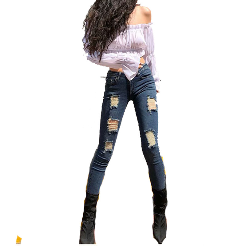 European And American Style High-waisted Elasticity With Holes Jeans Women's Cowboy Skinny Pants Women's Autumn And Winter