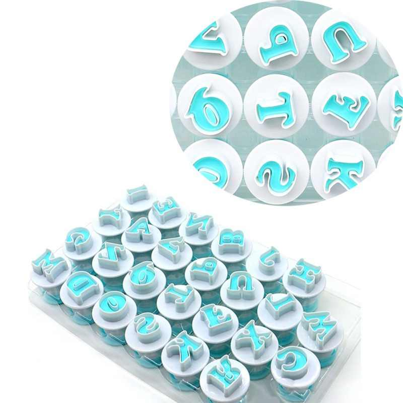 40 قطعة قطع فندان أدوات تزيين الكيك قوالب الكيك البلاستيكية العليا الأبجدية رأس المال الحروف عدد القطع قاطعة البسكوت