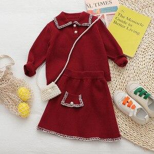 Image 2 - Babyinstar Kinder Kleidung Sets Für Mädchen Outfits 2020 Winter Mädchen Pullover Kinder Strickjacke + Rock Anzug Set Kinder Kleidung Set