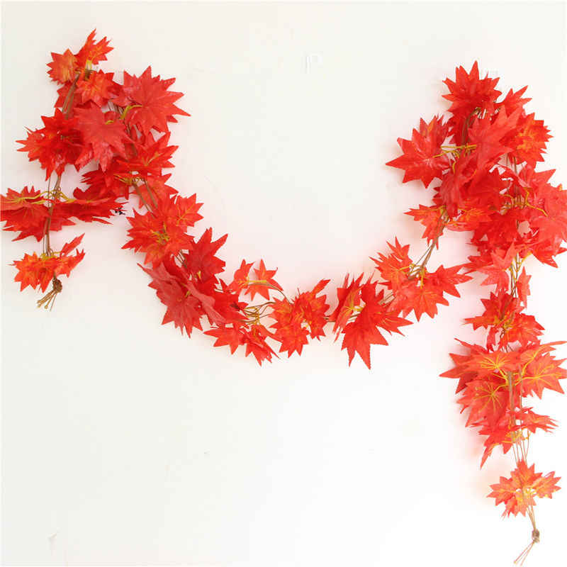 2019 New Arrivals Autumn Leaves Garland Maple Leaf Vine Fake Foliage Decoration 2.4m 1ft  Home Garden Windowill
