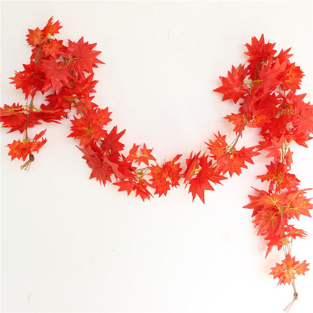 2019 New Arrivals Autumn Leaves Garland Maple Leaf Vine Fake Foliage Decoration 2.4m 1ft  Home Garden Windowill