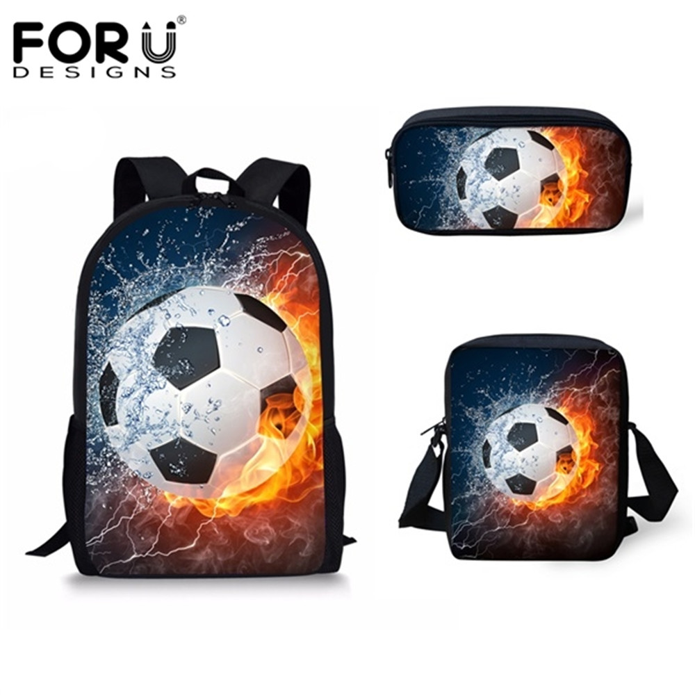 FORUDESIGNS Hot 3 Pcs/set Children School Bags 3D Water Fire Football Soccer Prints School Backpack For Teen Boys Kids Book Bags