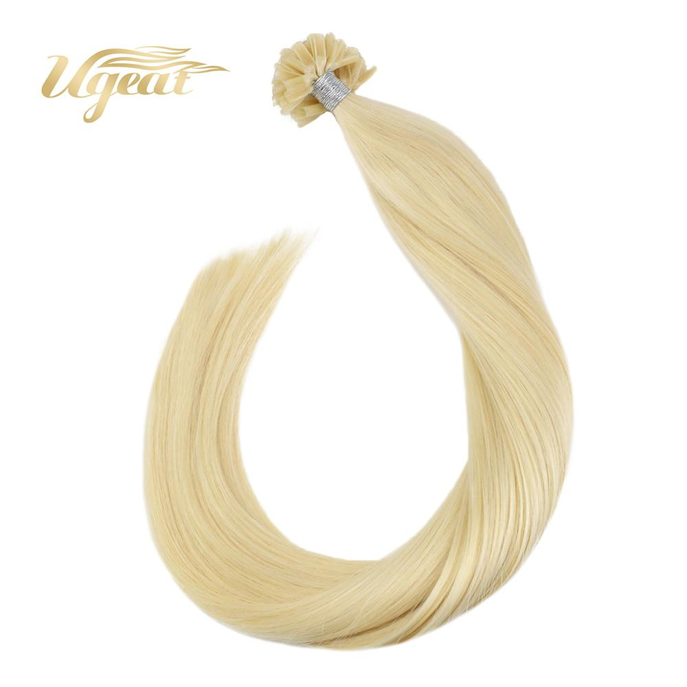 Ugeat Pre-Bonded Hair Extensions Nail Tip Hair Non-Remy Human Hair Extensions 14-24