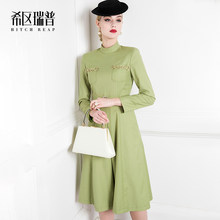 High End French Dress Spring Formal Dress 's A-line Waist Shows Thin Temperament 2021 New Women Half High Collar Office Lady