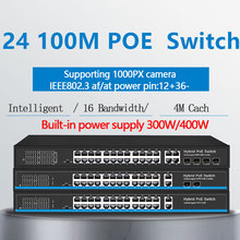 24 porte 10/100Mbps PoE Switch Ethernet di sostegno IEEE802.3af/a con 2 Porte 1000M SFP COMBO poe switch PoE 48V RJ45
