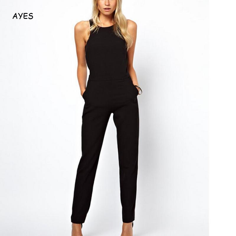 Womens Jumpsuit Black Overalls Elegant Office Lady Summer Sleeveless Sexy Tank Work Hollow-Out