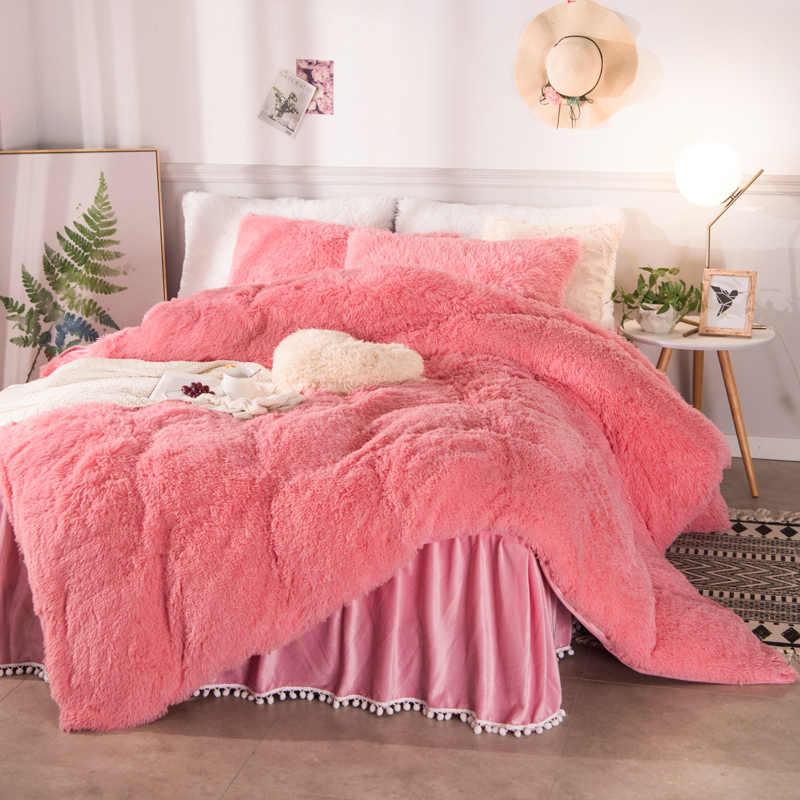 Różowe wino czerwony niebieski biały fioletowy żółty pluszowy kudłaty ciepły gruby polar pościel zestaw Mink aksamitna kołdra pokrywa falbanka na ramę łóżka poszewki na poduszki