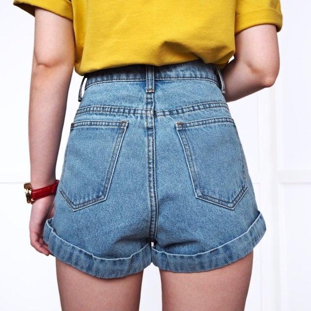 High Waist Vintage Denim Shorts for Women