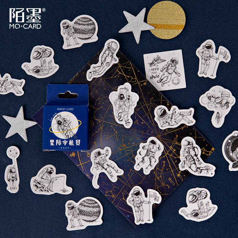 45pcs/pack Diy Cute Cartoon Spaceman Decorative Diary Album Calendar Adhesive Sticker Scrapbooking Craft
