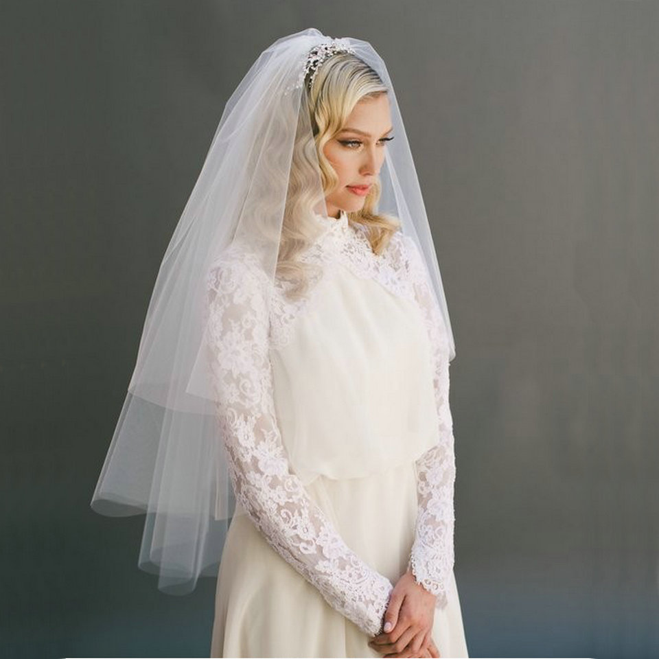 Fashion White Short Bridal Veil Two Layer Ivory Veils For Wedding Party Tulle Veiling New Arrival
