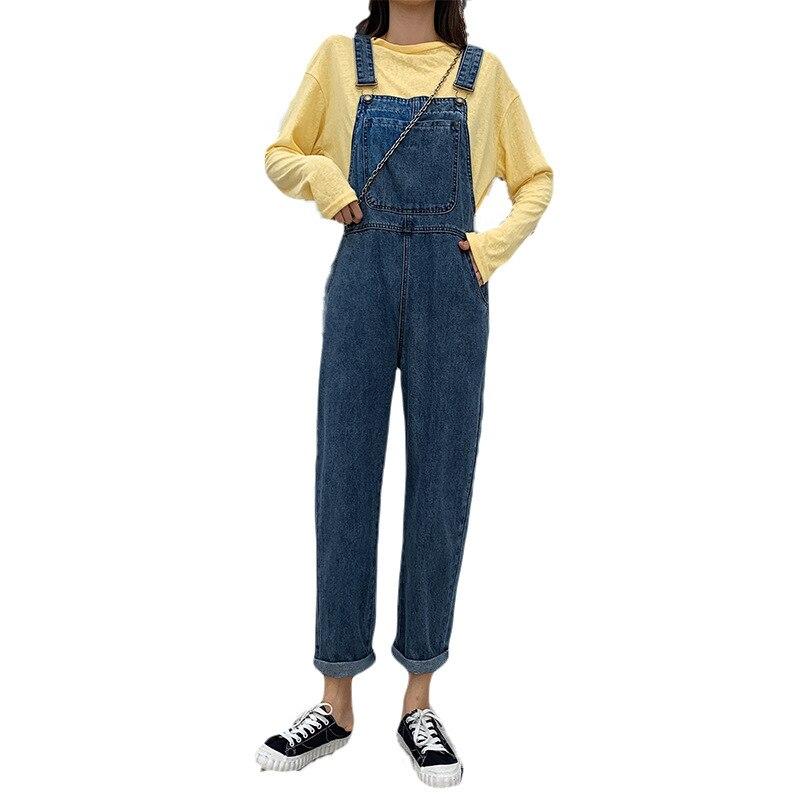 2019 Women Jeans Jumpsuit Casual Basic Wide Leg Ankle Length Denim Pants Large Size Leisure Loose Fit Overalls