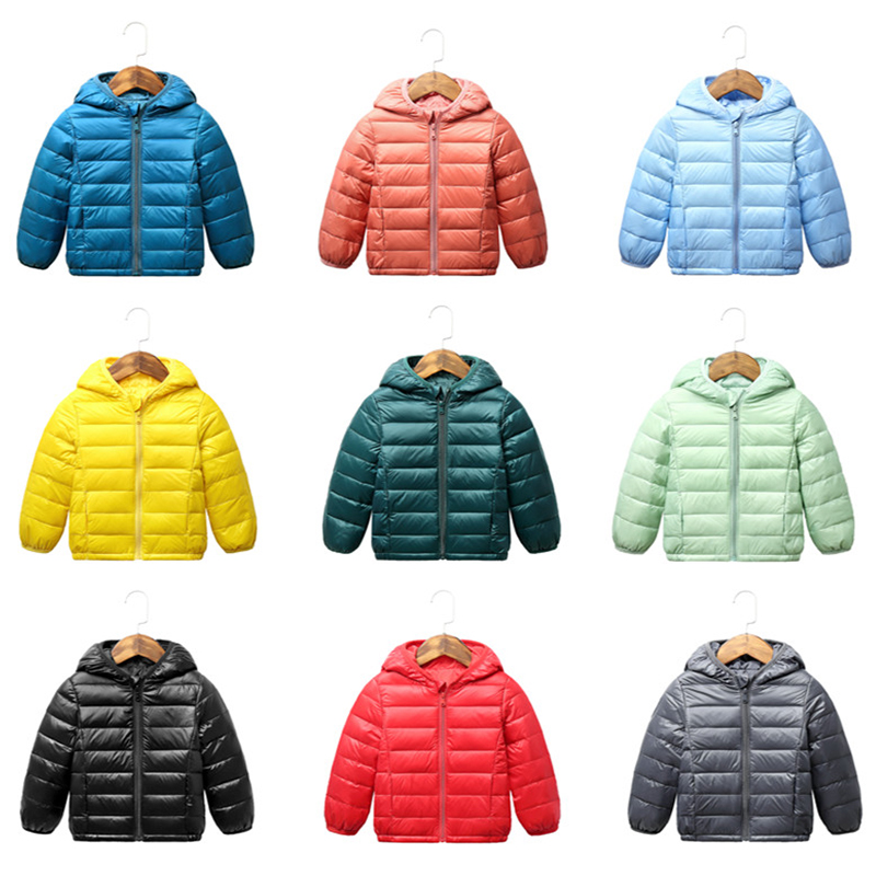 2021 Autumn Winter Hooded Children Down Jackets For Girls Candy Color Warm Kids Down Coats For Boys 2-9 Years Outerwear Clothes 6