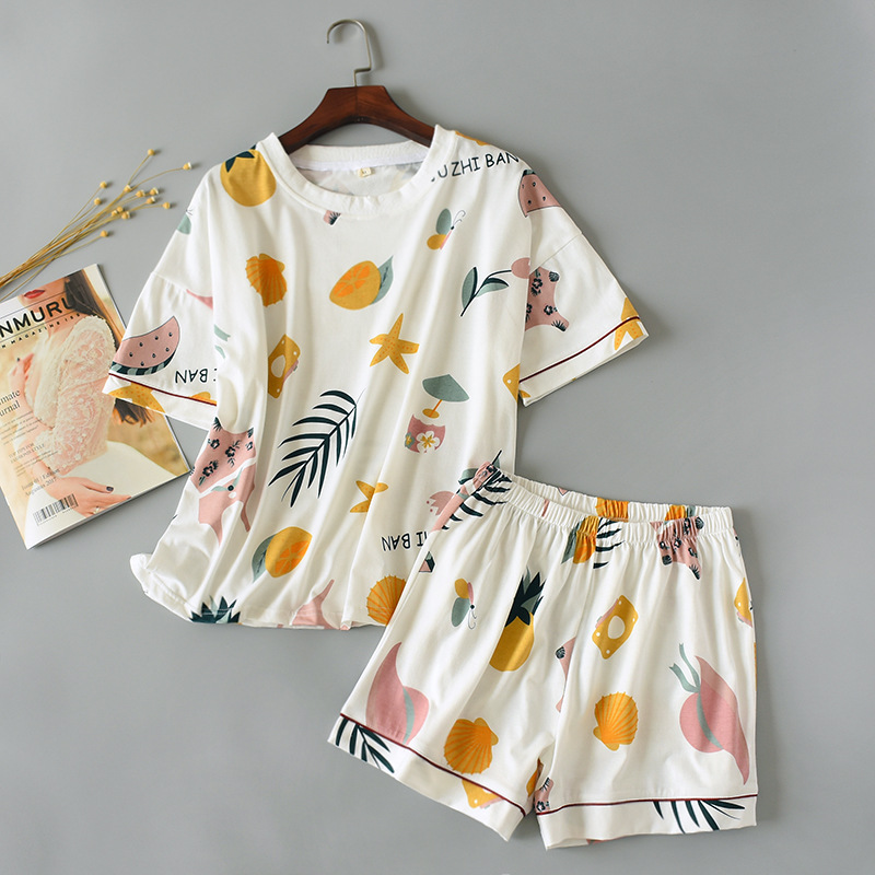 Summer Pullover Pajamas Women's Knitted Cotton Short Sleeve Shorts Home Wear Thin Pure Cotton-Outer Wear Set