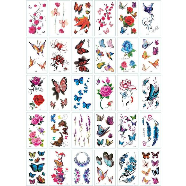 30Pcs/Set No Repeat Temporary Tattoo Stickers Waterproof Arm Clavicle Body Art Sticker Disposable butterfly tatouage temporaire 6