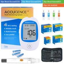 Medidor de glucosa en sangre 4 en 1 para uso doméstico, equipo para medir la glucosa en la sangre con ácido úrico, tiras de prueba gout para la Diabetes, GDH, rápido
