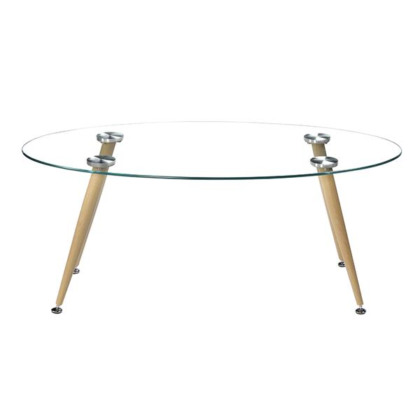Wood Grain Conical Leg &Transparent Tempered Glass Coffee Table minimalist coffee table side tables furniture living room table - 3