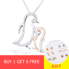 XiaoJing 100% 925 sterling silver diy design penguin mom hug baby pendant chain necklace fashion jewelry making for mother gifts genuine sterling silver 925 love heart mom hug kid necklace in jewelry pendant necklace with cz chain fashion jewelry for mother