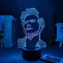 Luz da noite 3d harry lâmpada presente para fãs decoração do quarto luz led sensor de toque em mudança cor da lâmpada trabalho estilos frete grátis