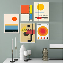 Bauhaus Retro Abstract Posters Prints Orange Geometric Rektangel Kunst Canvas Painting Wall Art Pictures For Living Room Decor