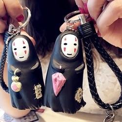 Chaveiro criativo miyazaki hayao sem rosto, chaveiro com pingente de desenho animado fofo espiritado no rosto para meninas presentes