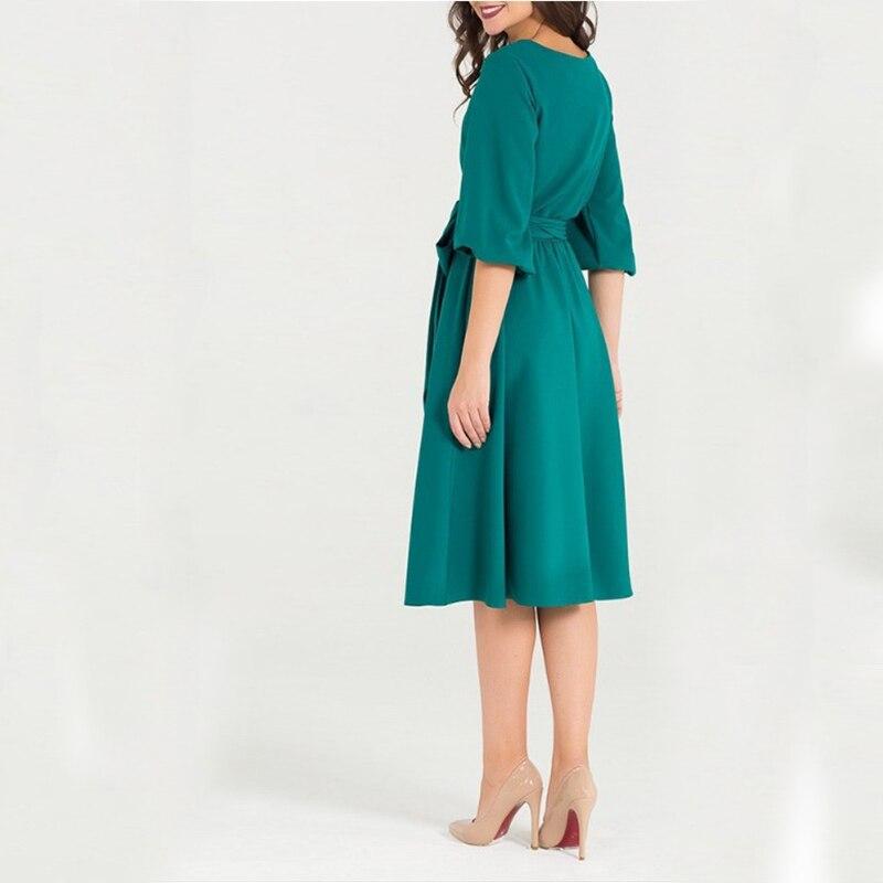QRWR Summer Autumn Women Dress 2020 Solid Color High Waist A Line Ladies Midi Dresses Casual Puff Sleeve Vintage Dress Women