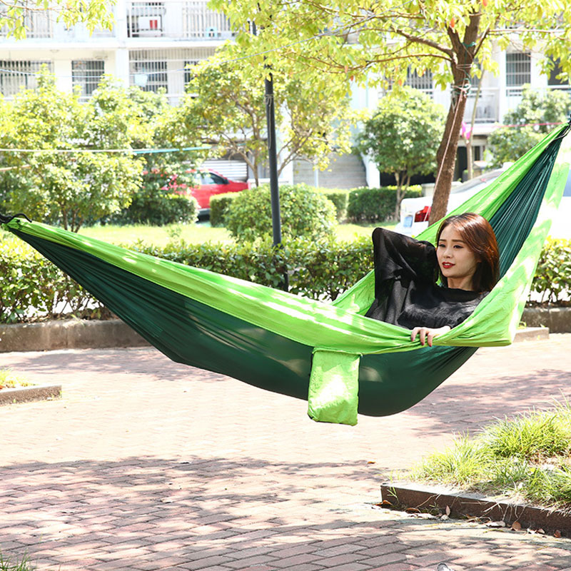 Outdoor Camping Hammock Single Double People Hammock Nylon Ultra Light Portable Swing Hammock Beach Camping Leisure Hammock