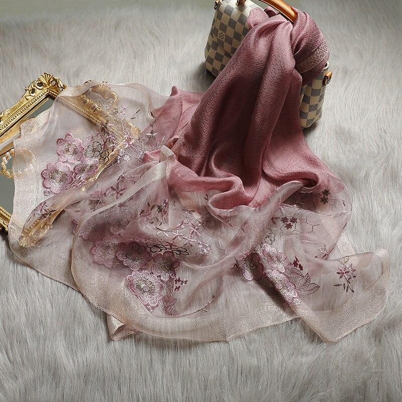 Women Luxury Silk Wool Scarf Shawls Floral Embroidery Lady Pashmina Neck Hijab Foulard Wraps Bufanda Winter Warm Scarves 2020