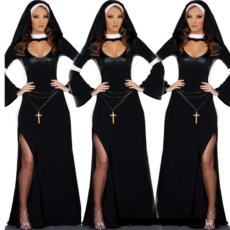 Retro Hot halloween cosplay M, L Mode Schwarz Kostüm Frauen sexy nonne kostüm Vinyl Cosplay Halloween Lange Kostüm