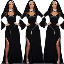 Retro quente halloween cosplay m, l moda preto traje feminino sexy freira fantasia vinil cosplay halloween longo traje