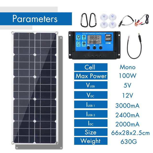 100W 18V MonocrystalineSolar Panel Dual 12V/5V DC USB Charger Kit with 10A Solar Controller & Cables 2
