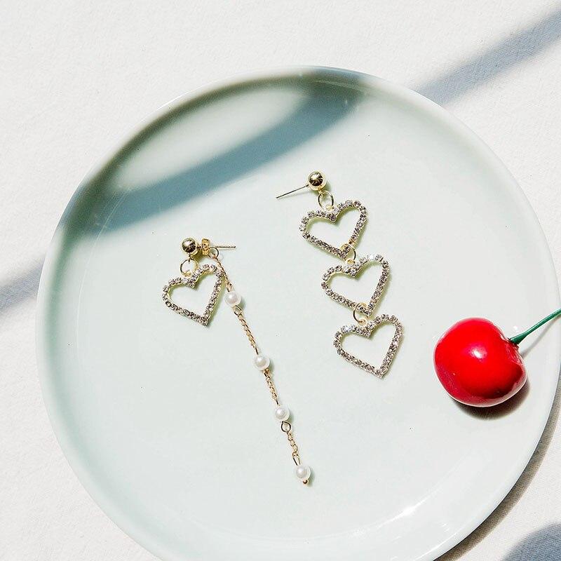 Корейские модные серьги-гвоздики в форме сердца, модные серьги-гвоздики, гипоаллергенные изысканные серьги с имитацией жемчуга и кисточками