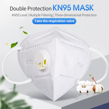 5-Layers White KN95 Mouth Mask With Breathing Valve Anti-dust Protective Facial Masks Respirator 95% Filtration Safety Mask