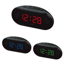 220V EU Plug AM FM Dual Frequency Radio Alarm Clock Digital LED Clock Luminous Clock Snooze Electronic Home Table Clock fm micro smd radio diy kit frequency modulation electronic production training
