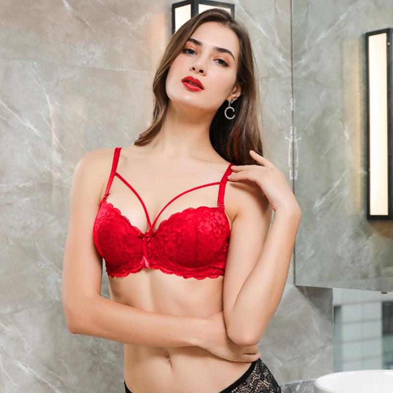 Women Bra Lace Floral Cross Bandage Sexy Back Clasp Lingerie Detachable Removable Strap Wire Bra