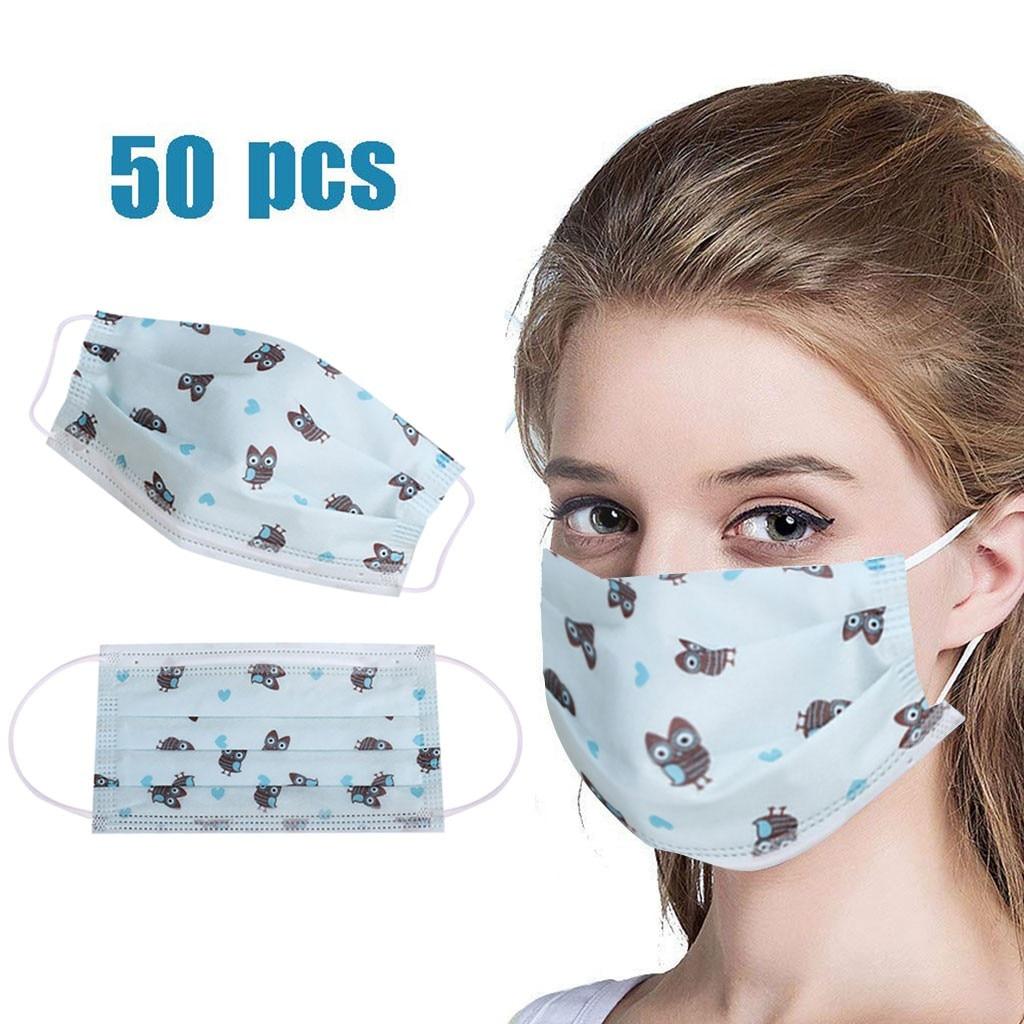 50pcs Adult Disposable Mask Cute Cartoon Owl Printed Breathable Mouth Masks Blue Outdoor Safety Masker Mascarilla Mondmasker