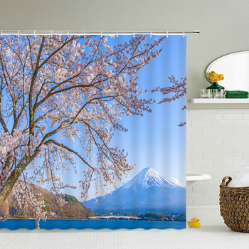 Washable Shower Curtains Fuji Mountain Cherry Blossoms Scenery 3D Waterproof Fabric Bathroom Large 240X180 Print Shower Curtain image