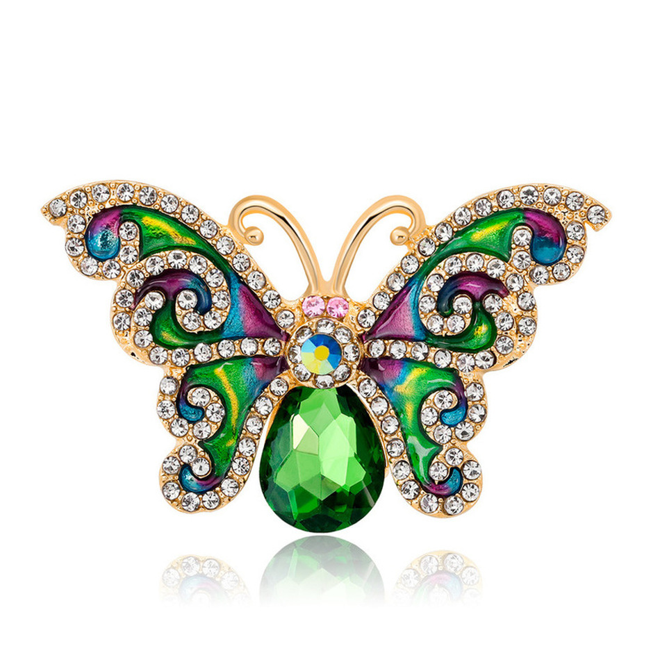 Korea Simple Rhinestone Drip Insect Brooches Pins for Fashion Girl Women Cute Butterfly Corsage Jewelry Accessories
